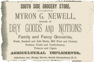 A South Side Grocery Ad in the 1897 Greensboro directory.